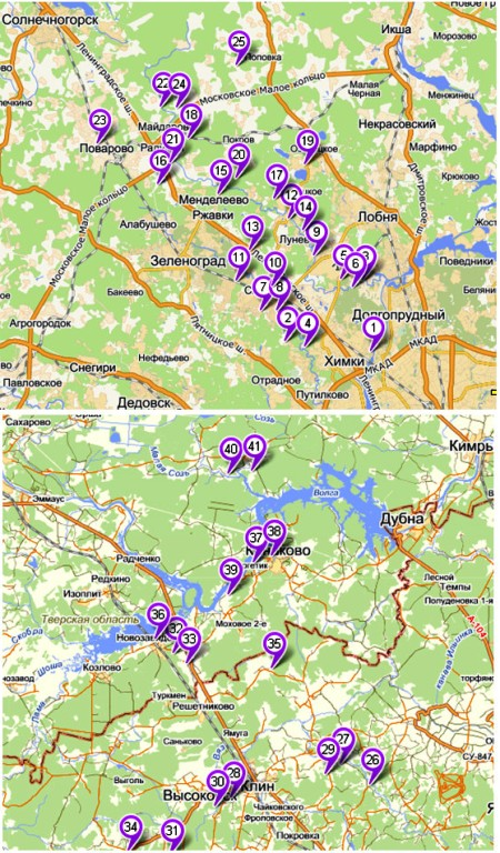 Поселки Ленинградское шоссе - карта