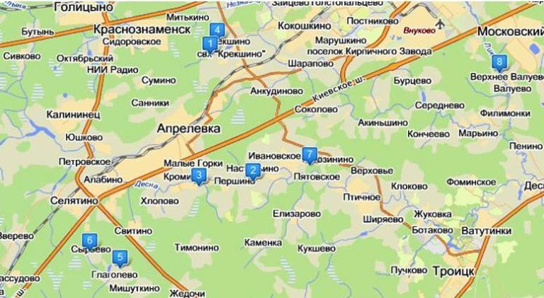 Карта поселков в локальной зоне