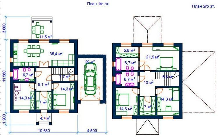 Планы первого и второго этажей, версия 1