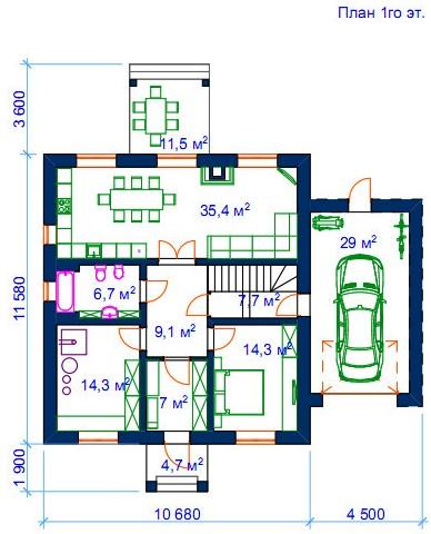 Первый этаж: Добавлен камин, увеличен гараж.