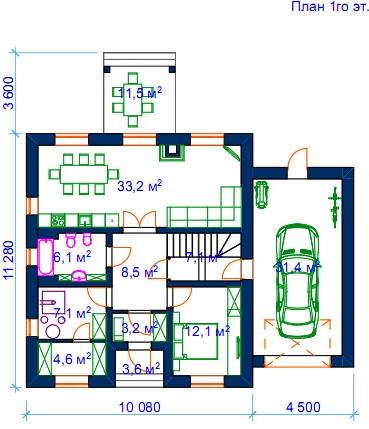 1 этаж: Уменьшены габариты основной части дома.