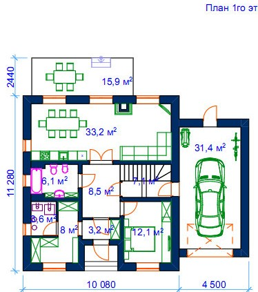 1 этаж: Топочная - уменьшение до необходимых минимальных размеров - расширение гардеробной.