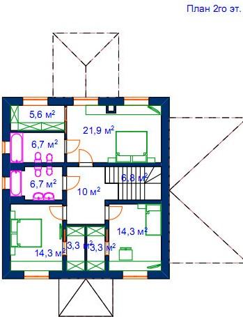 Второй этаж: Общая гардеробная разбита на 2 персональные, для детских спален.