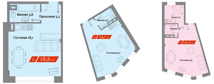 Квартиры-студииПример планировки «ГольяноVо Park»